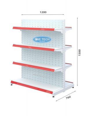 Kệ đôi tôn đục lỗ 4 tầng x C150 x D120 (cm)