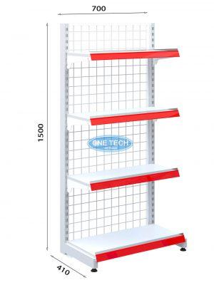 Kệ siêu thị đơn lưng lưới C150 x D70 (cm)