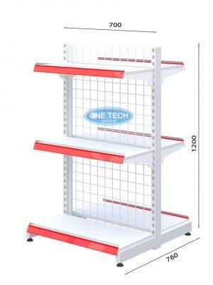 Kệ siêu thị đôi lưng lưới 3 tầng x C120 x D70 (cm)