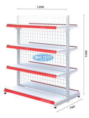 Kệ siêu thị đôi lưng lưới 4 tầng x C150 x D120 (cm)