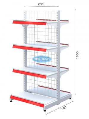 Kệ siêu thị đôi lưng lưới 4 tầng x C150 x D70 (cm)