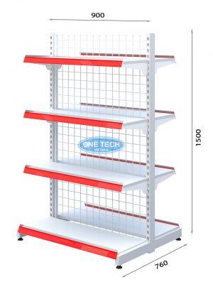Kệ siêu thị đôi lưng lưới 4 tầng x C150 x D90 (cm)