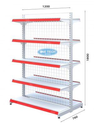 Kệ siêu thị đôi lưng lưới 5 tầng x C180 x D120