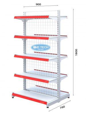 Kệ siêu thị đôi lưng lưới 5 tầng x C180 x D90 (cm)