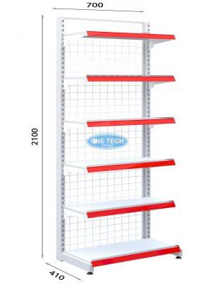 Kệ siêu thị đơn lưng lưới 6 tầng x C210 x D70
