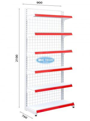 Kệ siêu thị đơn lưng lưới 6 tầng x C210 x D90 (cm)