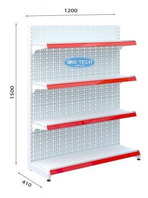 Kệ siêu thị đơn tôn đục lỗ 4 tầng x C150 x D120 (cm)
