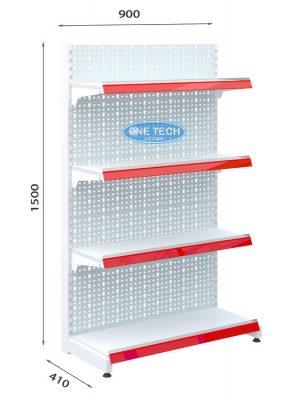 Kệ siêu thị đơn tôn đục lỗ 4 tầng x C150 x D90 (cm)