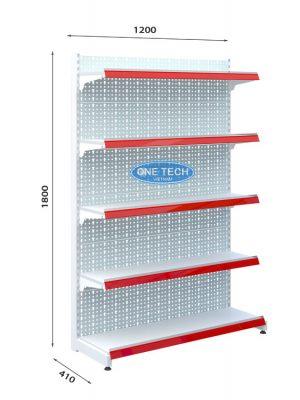 Kệ siêu thị đơn tôn đục lỗ 5 tầng x C180 x D120 (cm)