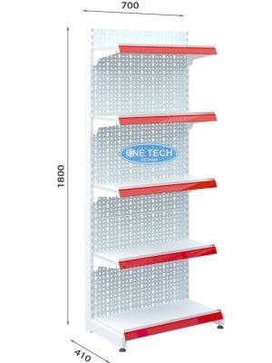 Kệ siêu thị đơn tôn đục lỗ 5 tầng x C180 x D70 (cm)