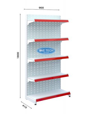 Kệ siêu thị đơn tôn đục lỗ 5 tầng x C180 x D90 (cm)
