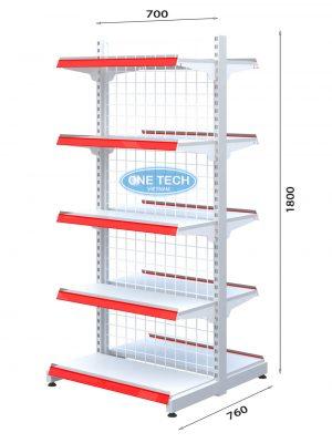 Kệ siêu thị đôi lưng lưới 5 tầng x C180 x D70 (cm)