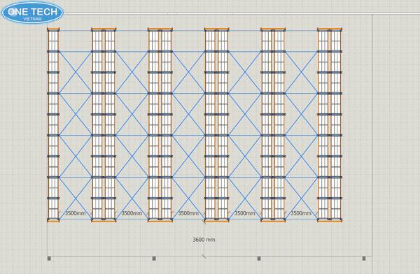 Bản thiết kế 2D mặt bằng bố trí giá kệ nhà kho