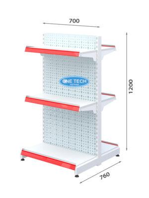 Kệ siêu thị đôi tôn đục lỗ 3 tầng x C120 x D70 (cm)