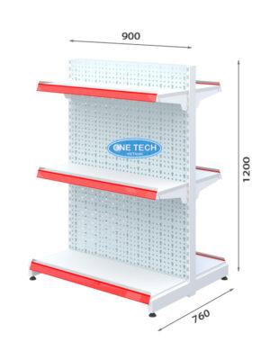 Kệ đôi siêu thị tôn đục lỗ 3 tầng x C120 x D90 (cm)