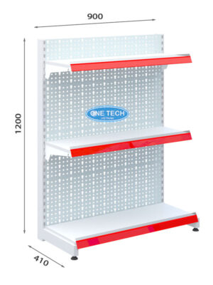 Mẫu kệ siêu thị đơn tôn đục lỗ 3 tầng x C120 x D90 (cm)