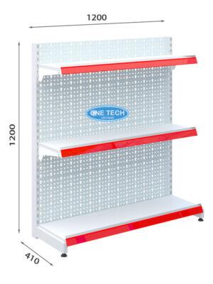 Kệ siêu thị đon tôn đục lỗ 3 tầng x C120 x D120 (cm)